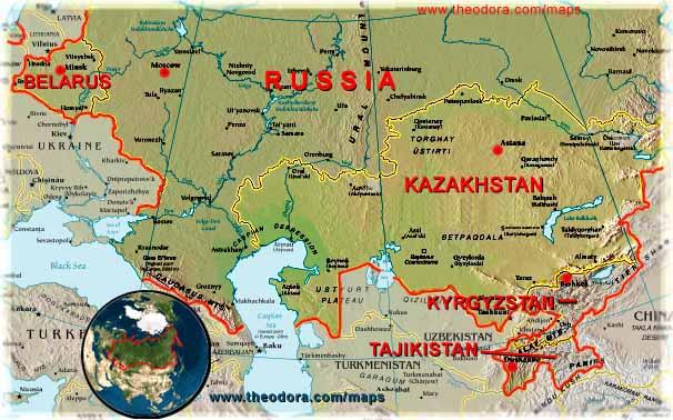 Kazakhstan Russia Map.Eurasian Economic Community Belarus Kazakhstan Kyrgyzstan
